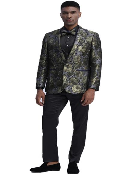 Men's One Button Closure Floral Pattern Gold Slim Fit Tuxedo For Wedding