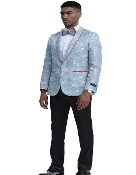 Sky Blue Floral Pattern Fashion Blazer Perfect for Prom
