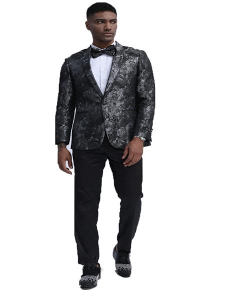 Black and Silver Floral Pattern Blazer Perfect for Wedding