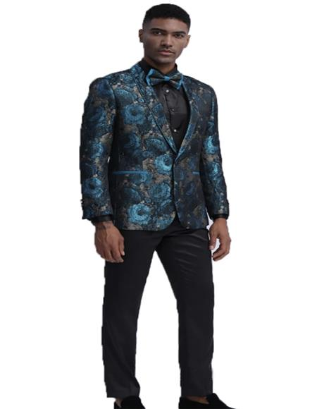 Slim Fit Tuxedo Dinner Jacket Paisley ~ Floral Pattern Fashion Blazer Perfect for Prom & Wedding & Stage Teal