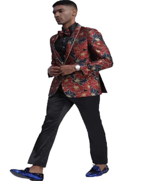 Blue & Red Slim Fit Tuxedo Dinner Jacket for Men