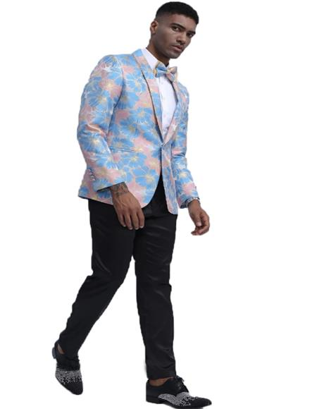 Blue & Pink Slim Fit Tuxedo Dinner Jacket for Men