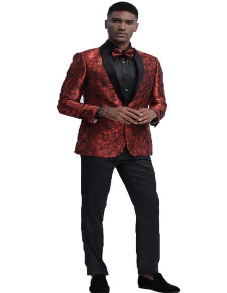 Red Shawl Lapel Slim Fit Tuxedo Dinner Jacket for Men