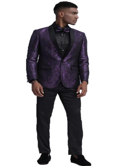 Slim Fit Tuxedo Dinner Jacket Paisley ~ Floral Pattern Fashion Blazer Perfect for Prom & Wedding & Stage Purple