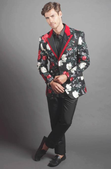 Mens Cheap Priced Designer Fashion Dress Casual Blazer On Sale Fallen Roses Blazer