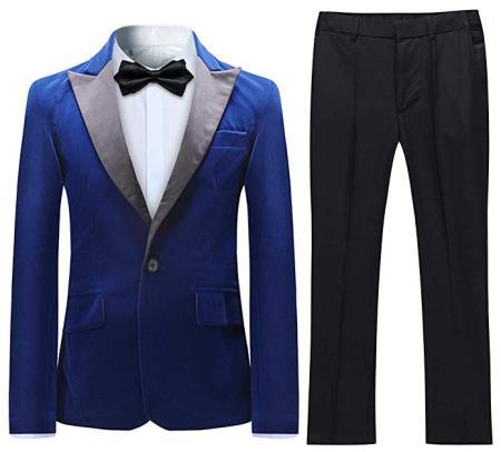Velvet Tuxedo Suit Jacket & Pants Blue (Including Black Pants)