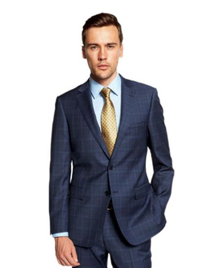 Mix and Match Suits Portly Plaid Suit Indigo ~ Cobalt Blue Window Pane Checkered Suit Executive Fit Suit - Mens Portly Suit