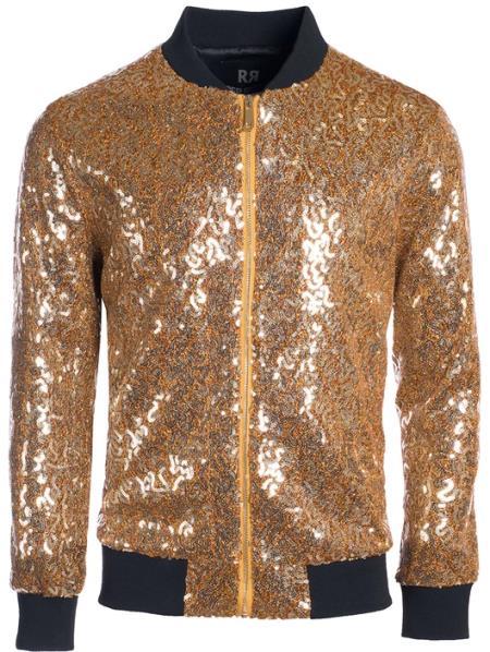 Mens Sequin Bomber Jacket Gold