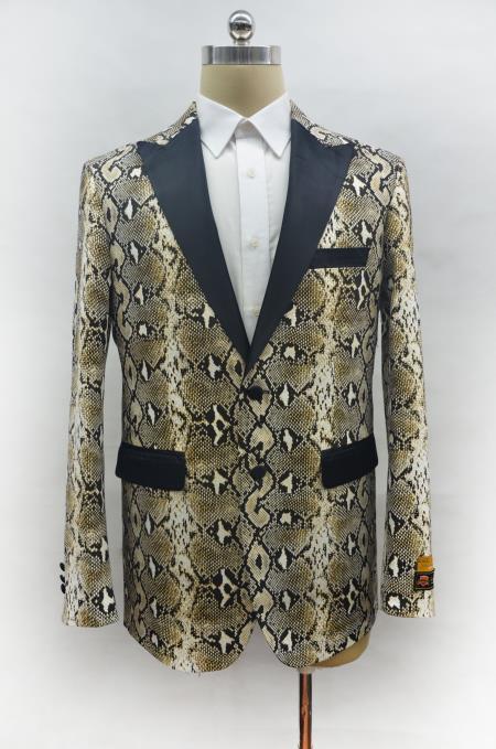 Mens Two Button Peak Lapel Snake Skin Prom Blazer