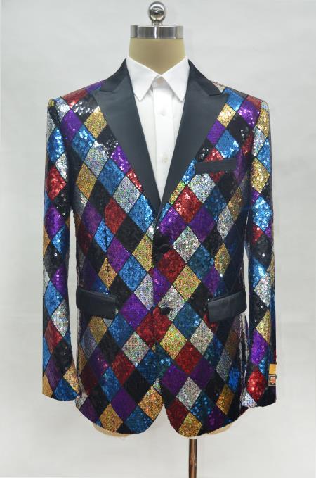 Rainbow Tuxedo with Matching Bow Tie Mens Rainbow One Chest Pocket Peak Lapel Prom Blazer