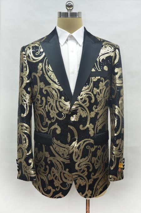 Shiny Sequin Gold and Black Paisley Blazer Dinner Jacket Perfect Wedding or Prom