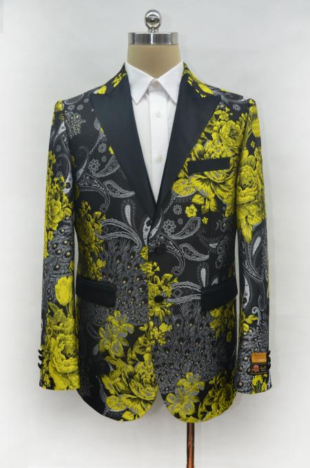 Fancy Fashion Yellow ~ Gold and Black Paisley Blazer Dinner Jacket Perfect Wedding or Prom