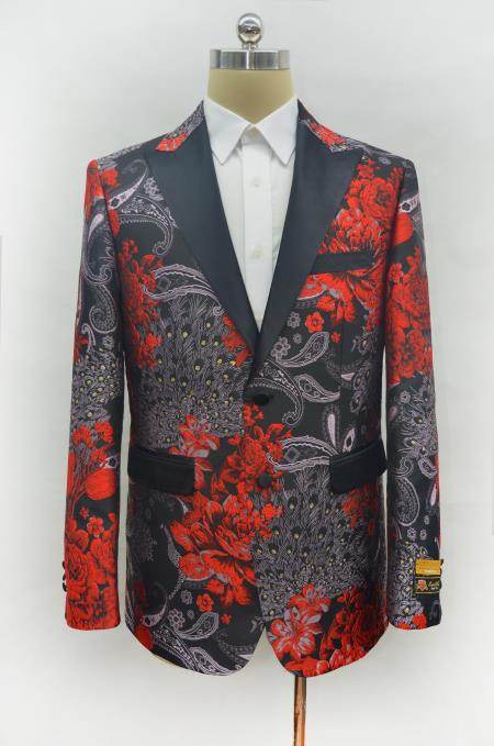 Men's Red Two Button Peak Lapel Two Flap Front Pockets Prom Blazer