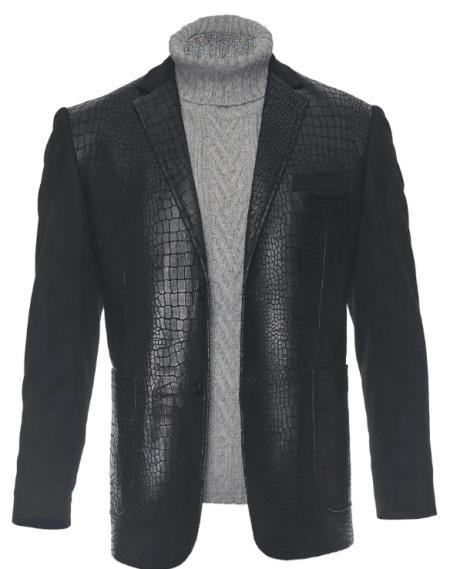 Men's Black Two Button Fashion Dress Casual Blazer