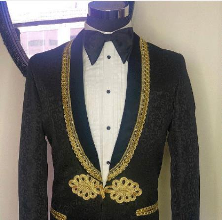 Men's Cheap Priced Designer Fashion Dress Casual Blazer On Sale Shawl Lapel Black ~ Gold Blazer