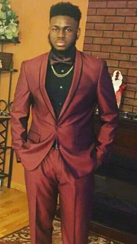 Mens Burgundy Shawl Lapel One Chest Pocket One Button Burgundy Suit