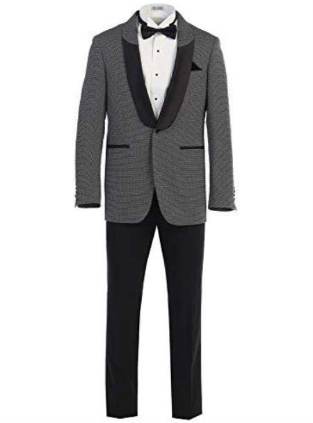 Men's Black ~ White Shawl Lapel Pattern Texture Fancy Blazers