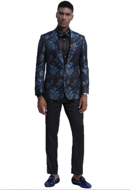 Mens Blue and Black Slim Fit Wedding Tuxedo Suit