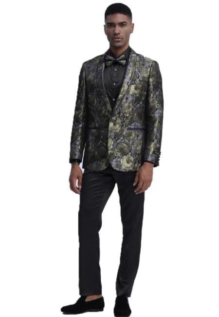 Slim Fit Prom Outfit~ Wedding Tuxedo Suit (Jacket & Pants) + Matching bow tie  ~ Floral Pattern Fashion + Gold