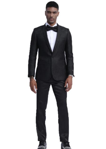 Mens Slim Fit Prom Outfit  Wedding Tuxedo Suit Black