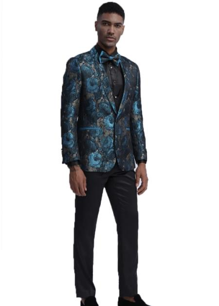 Mens Teal Slim Fit Prom Outfit  Wedding Tuxedo Suit