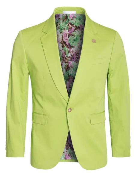 Mens Cotton Stretch Slim Fit Blazer Apple