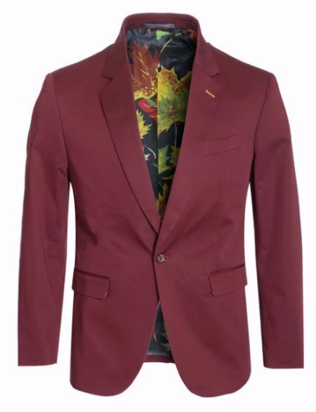 Men's Cotton Stretch Slim Fit Blazer Burgundy