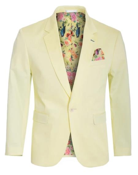 Men's Cotton Stretch Slim Fit Blazer Lemon