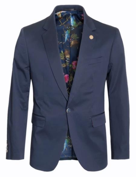 Mens Cotton Stretch Slim Fit Blazer Navy