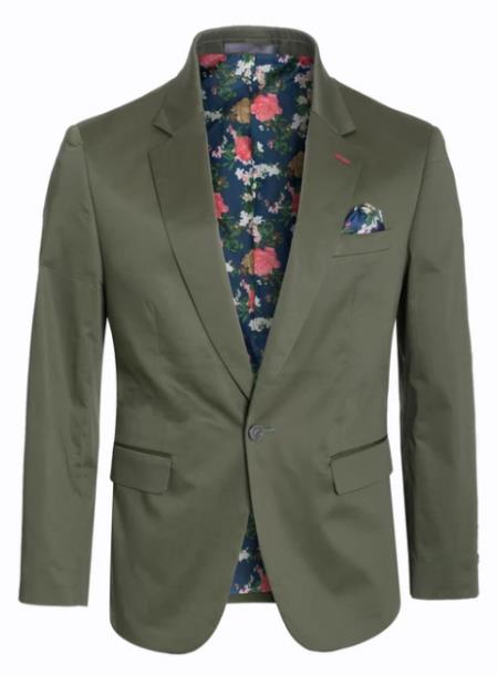 Men's Cotton Stretch Slim Fit Blazer Olive