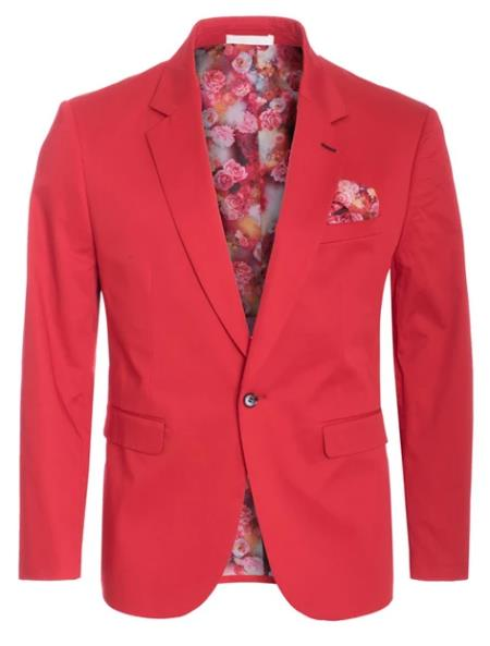 Men's Cotton Stretch Slim Fit Blazer Red