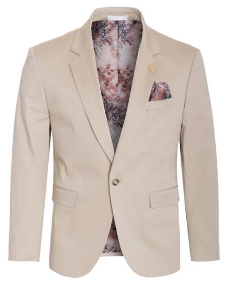 Men's Cotton Stretch Slim Fit Blazer Khaki