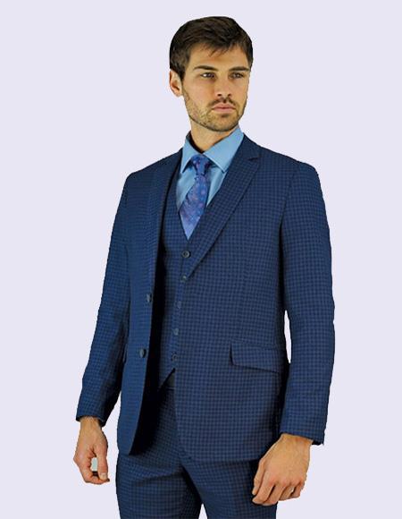 Share Giorgio Fiorelli Men's Navy Blue Check Suit