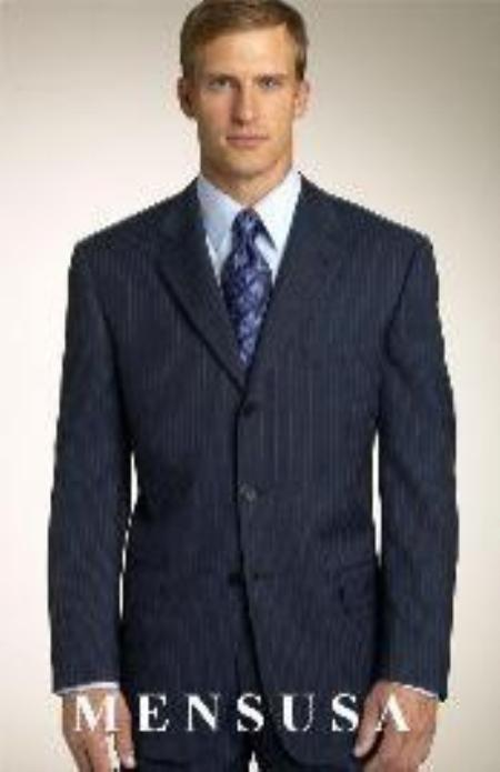 SKU# S9D Brand New Navy Pinstripe premier quality italian fabric Design suit made with Ultra Smoot $175