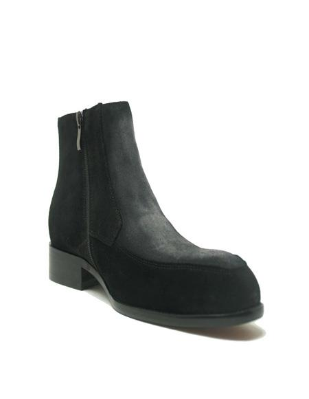 Mens Dress Ankle Boots Black/Gray Genuine Caiman Belly Two Tone Dress Boot