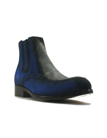 Mens Dress Ankle Boots Two Tone Suede Chelsea Cheap Priced Men's Dress Boot With jeans or Suit Best Fashion Dressy Leather Boot!  In Black/Gray