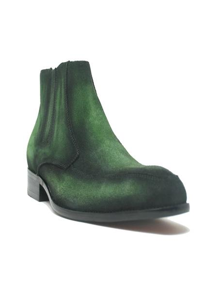Mens Dress Ankle Boots Leather Suede Chelsea Cheap Priced Men's Dress Boot With jeans or Suit Best Fashion Dressy Leather Boot!  In Emerald and Red