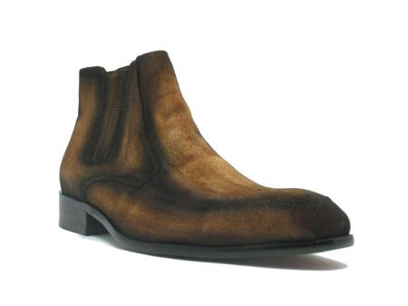 Mens Dress Ankle Boots Leather Suede Chelsea Cheap Priced Men's Dress Boot With jeans or Suit Best Fashion Dressy Leather Boot!  In Cognac