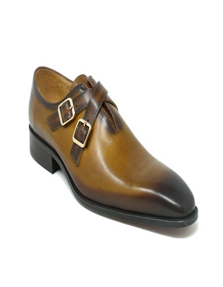 Carrucci Cross Strap Leather Stylish Dress Loafer In Cognac