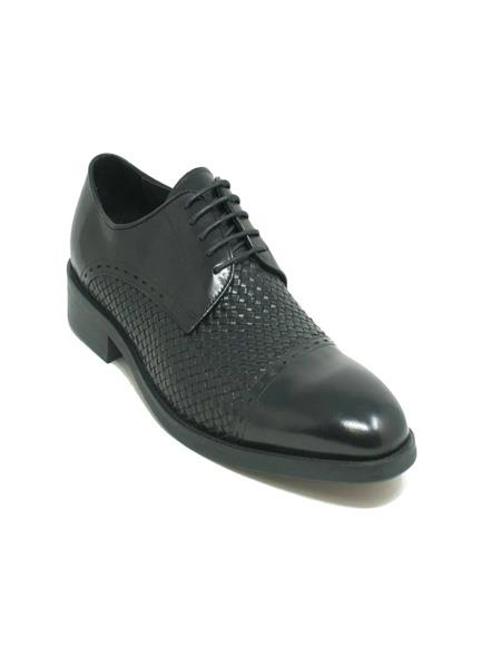 Black Cap Toe Woven Leather Oxford