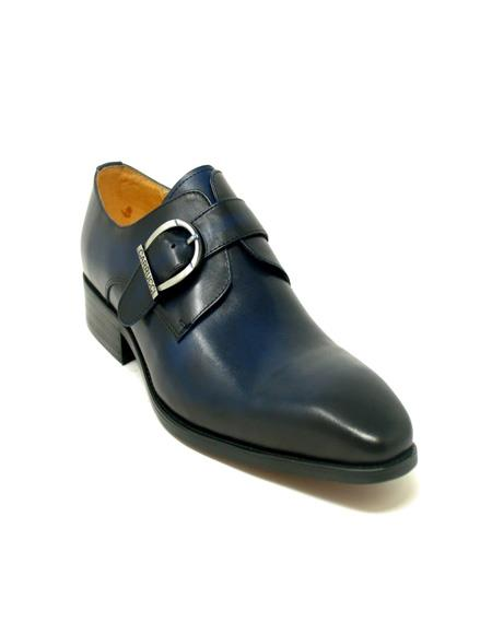 Carrucci Buckle Monk Strap In Navy