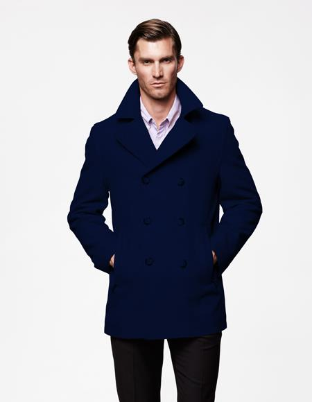 Mens Peacoat Wool Fabric double breasted Style Coat For men Navy Blue