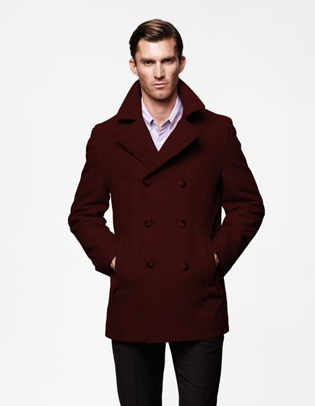 Mens Designer Mens Wool Peacoat Sale Available Wool Fabric double breasted Style Coat For men Dark Burgundy