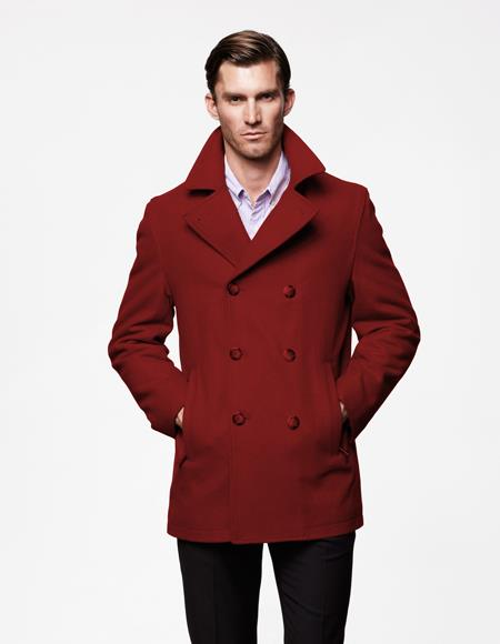 Mens Peacoat Wool Fabric double breasted Style Coat For men Burgundy