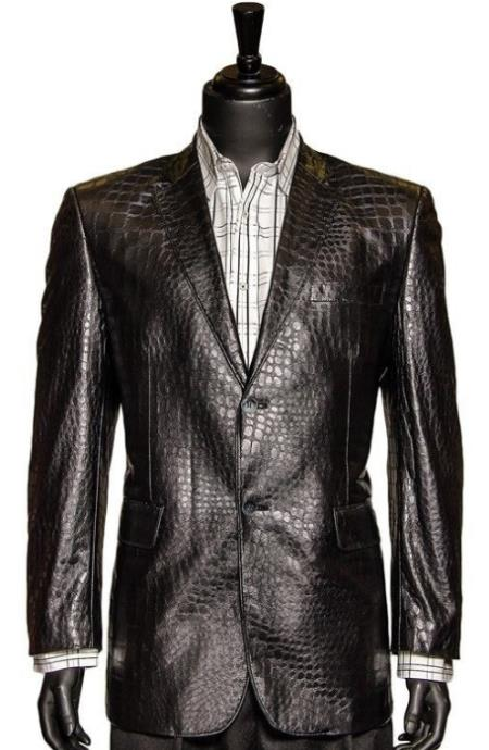 Zacchi Black Vegan Faux Leather Croc Pattern 2 Button Casual Blazer Sportcoat