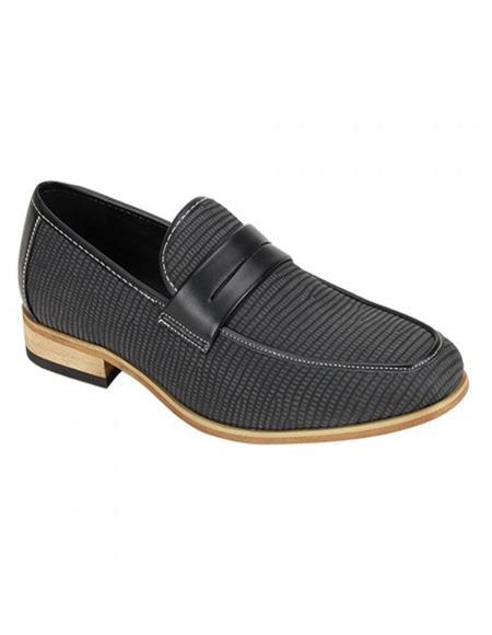Zota Mens Shoe - Zota Shoes Antonio Cerrelli Men's Snake Skin Print Stylish Dress Loafer Fashion Dress Shoe In Black