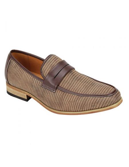 Zota Mens Shoe - Zota Shoes Antonio Cerrelli Men's Tan Color Shoe Snake Skin Print Stylish Dress Loafer Fashion Dress Shoe In Brown