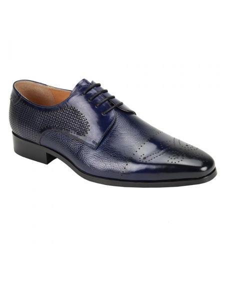 Zota Mens Shoe - Zota Shoes Giorgio Venturi Men's Soft Genuine leather Mutli-Textured Dress Shoe In Navy