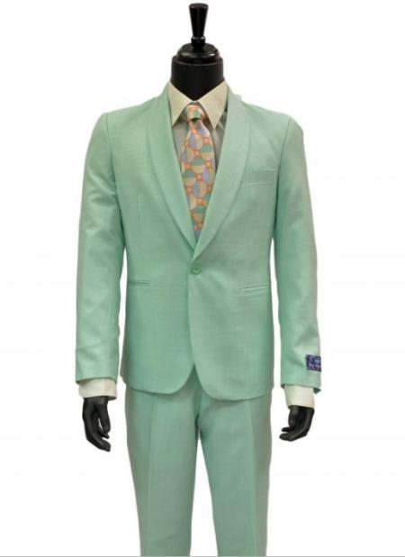 Blue Martini Mint Green 2Pc One Button Mens Slim Fit Shawl Collar Linen Look Suit