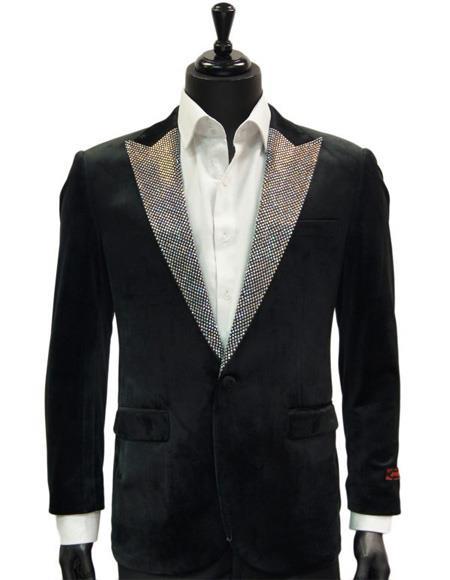 Mens Velvet Dress Dinner Jacket  Black and silver glitter Blazer Sport Coat Blazer